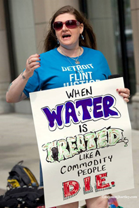 Water Quality Protester